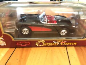 1957 Chevrolet Corvette Leather Series Black w/ Red 1:18 Scale Yat Ming