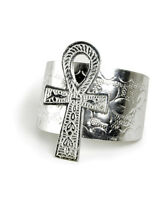 African Jewellery Ankh Cuff; 3 Ankh Pendant Silver Free Shipping Us Seller