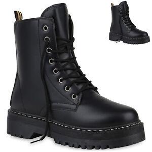 832139 Leder Optik Trendy Stiefeletten Boots Neu Stiefel Damen Details Zu Worker Plateau Aj35RL4q