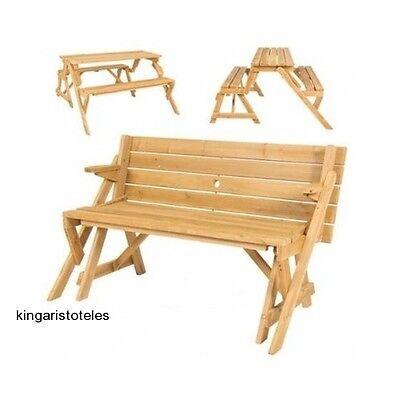 Outsunny 2 In 1 Convertible Picnic Table & Garden Bench Patio Seating Benches