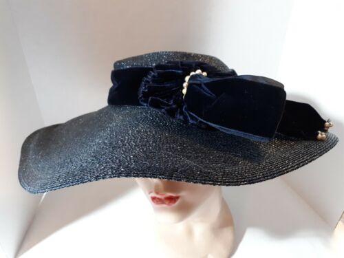 Vintage 1940s Broad Brim Navy Blue Ladies Hat