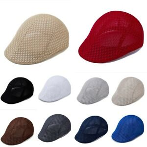 Unisex Summer Beret Breathable Mesh Gatsby Cap Newsboy Hat Cabbie Flat Cap