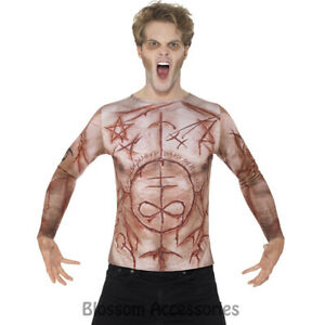 CA97-Mens-Mutilated-Skin-T-Shirt-Flesh-Horror-Zombie-Halloween-Fancy-Costume