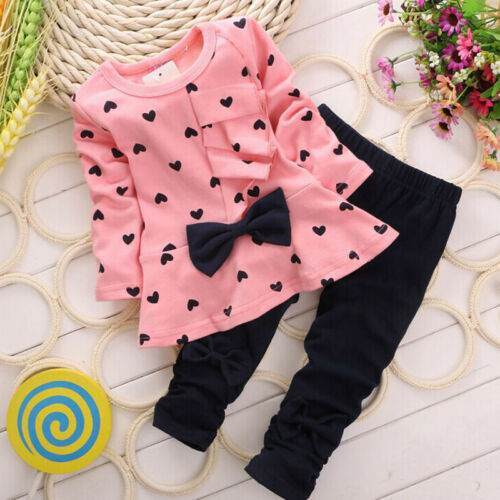 2PCS Newborn Toddler Kids Baby Girl Bow Tops T-shirt+Long Pants Outfits Clothes