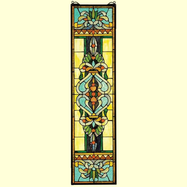 Ebay Stained Glass Panels.Blackstone Hall Stained Glass Window Hanging Panel 35 Multicolor Home Art Decor