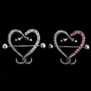 14G-Stainless-Steel-Crystal-Snake-Bar-Barbell-Nipple-Rings-Body-Piercing-P-NMCA