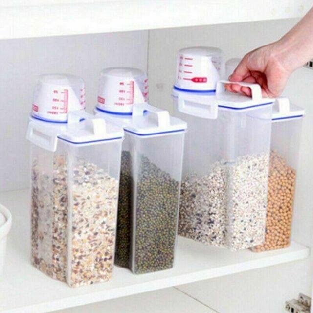 2L Storage Box Plastic Cereal Dispenser Food Grain Rice Containers Vogue Luxury