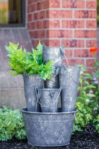 Metal Pails in Large Pail Fountain with LED Light Hi-Line Gift Ltd