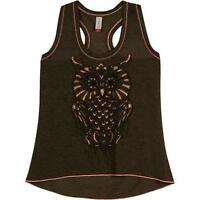 Juniors Goth Owl Hacci Sweater Graphic Knit Tank Top In Olive Color Size Xl