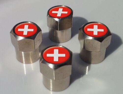 SWITZERLAND SWISS FLAG ALLUMINIUM TYRE VALVE CAPS FOR TIRE WHEEL