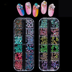 Nail-Art-Rhinestones-Glitter-Sequins-Beads-Mixed-Size-Shiny-3D-Decoration-in-Box