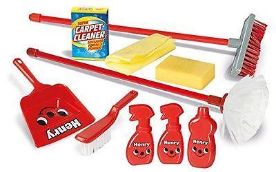 New Casdon Little Helper Henry Housekeeping 12 Piece Toy Playset Broom Dustpan