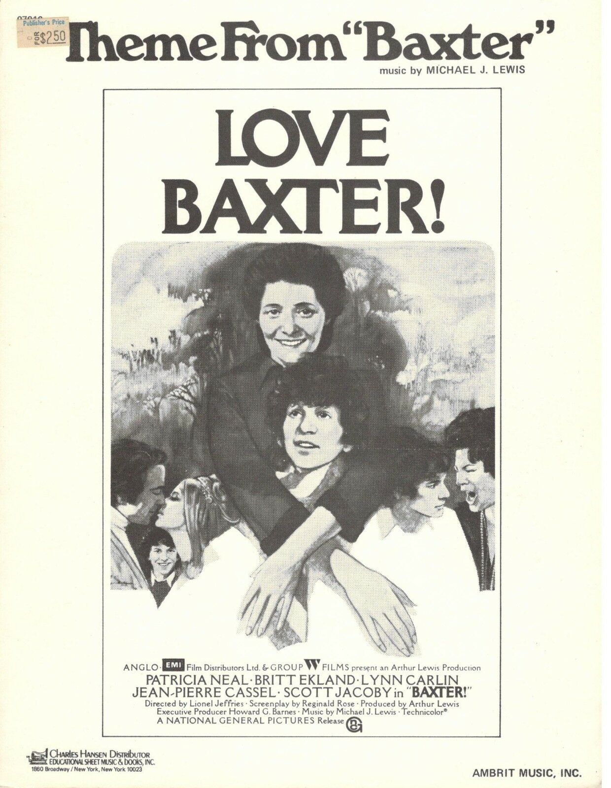 THEME FROM BAXTER-LOVE BAXTER  SHEET MUSIC-PIANO SOLO-1973-BRAND NEW ON SALE
