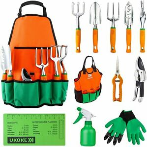 Garden Tool Set, 12 Piece Aluminum Hand Tool Kit, Garden Canvas Apron with Stora