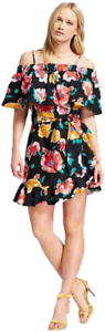 Who What Wear Women/'s Belted Bardot Mini Dress Floral Off Shoulder New