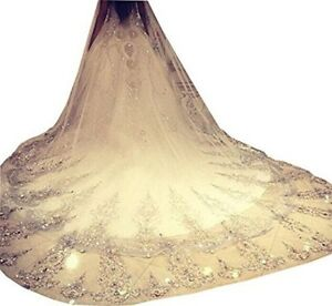NEW-3m-Luxury-1T-Cathedral-Wedding-Lace-Sequins-Long-Veil-With-Comb-US
