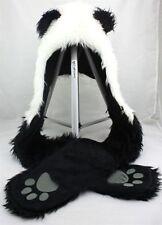 Panda Animal Hood Hoodie Hat Faux Fur 3 IN 1Function Ear long Flap Mittens Warm