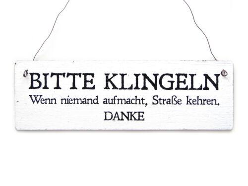 Shabby Vintage Schild Türschild Dekoschild BITTE KLINGELN STRASSE KEHREN Holzs