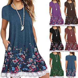 Women-Short-Sleeve-Floral-Lace-Dress-Casual-Tops-Blouse-Swing-T-Shirt-Sundress