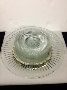 Image is loading Crystal-and-Silver-Cake-Serving-Set-7-pieces- & Crystal and Silver Cake Serving Set 7 pieces Cake Stand and 6 ...