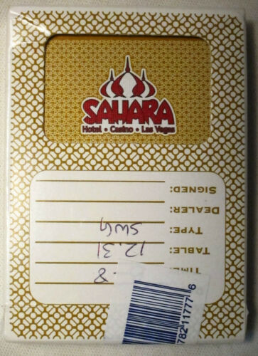 Sahara Playing Cards Las Vegas hotel casino Card Closed 2011 gold yellow deck
