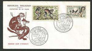 Appris Fdc 1er Jour Madagascar Répoblika Malagasy 1961 Tananarive Faune Sauvage /l1731