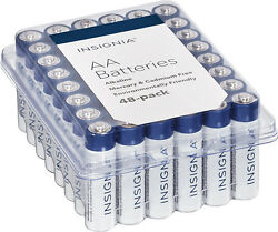 48-Pack Insignia AA Batteries (White / Blue)
