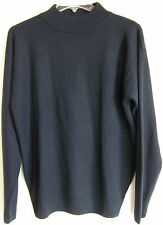 TINA Scotland 100% Pure Cashmere Navy Blue LS Mock Turtle Neck Sweater L