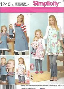 Simplicity-1240-Matching-APRONS-for-Misses-Child-amp-18-034-Doll-2-Different-Designs