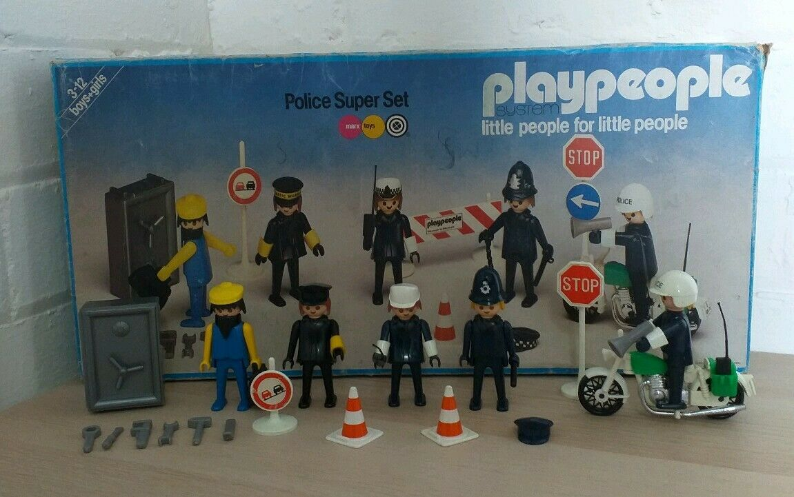 Playpeople marx Geobra 1970s - rare 1720 1 police Bobby super set original box