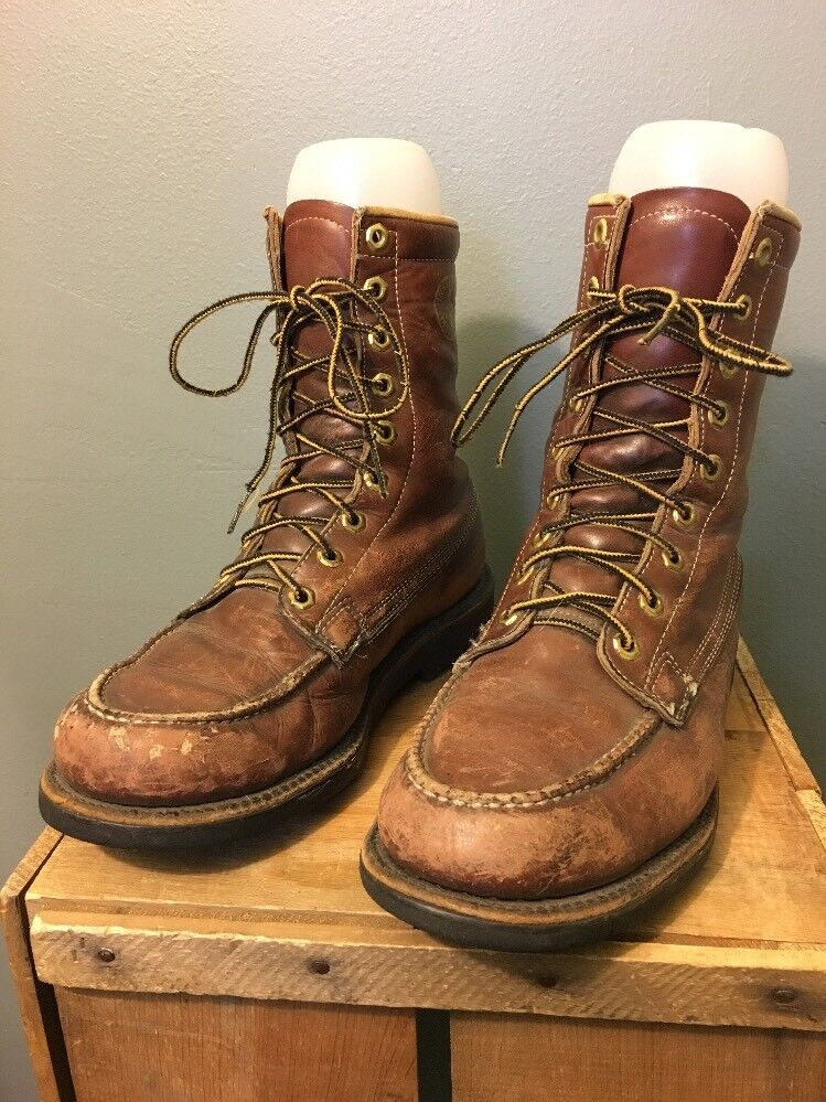 Vtg 60s 70s Brown Leather Herman Survivor Works Boots Mens 7-1/2 M Insulated -20