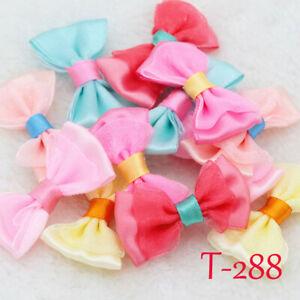 10-50P-Mini-Satin-Ribbon-Flowers-Organza-Bows-Appliques-craft-Wedding-Decoration