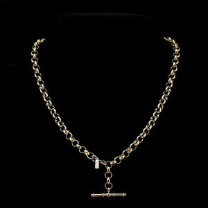 18K-Yellow-Gold-GL-Woman-039-s-Medium-Solid-Belcher-Necklace-with-Antique-T-Bar-55cm