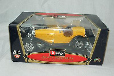 BURAGO MODELS 1932 ALFA ROMEO 2300 SPIDER, YELLOW, 1:18, NEW IN BOX