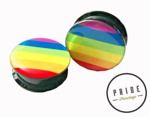 RAINBOW PRIDE LGBT ACRYLIC GAUGES TUNNELS PLUGS PIERCING