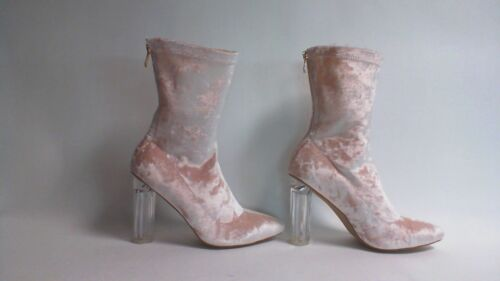 Ladies Crushed Velvet Ankle Boot With Perspex Heel UK Sizes 6 /& 8 Pink