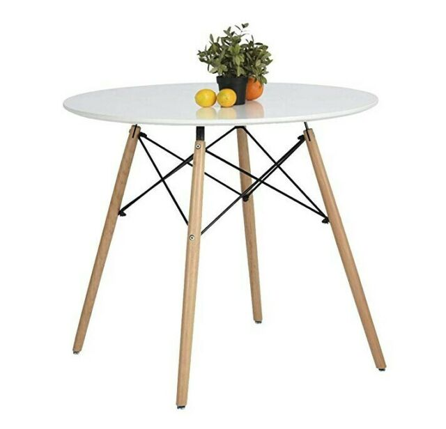 White Round Top Kitchen Dining Table Modern 4 Wood Legs Leisure Tea Office