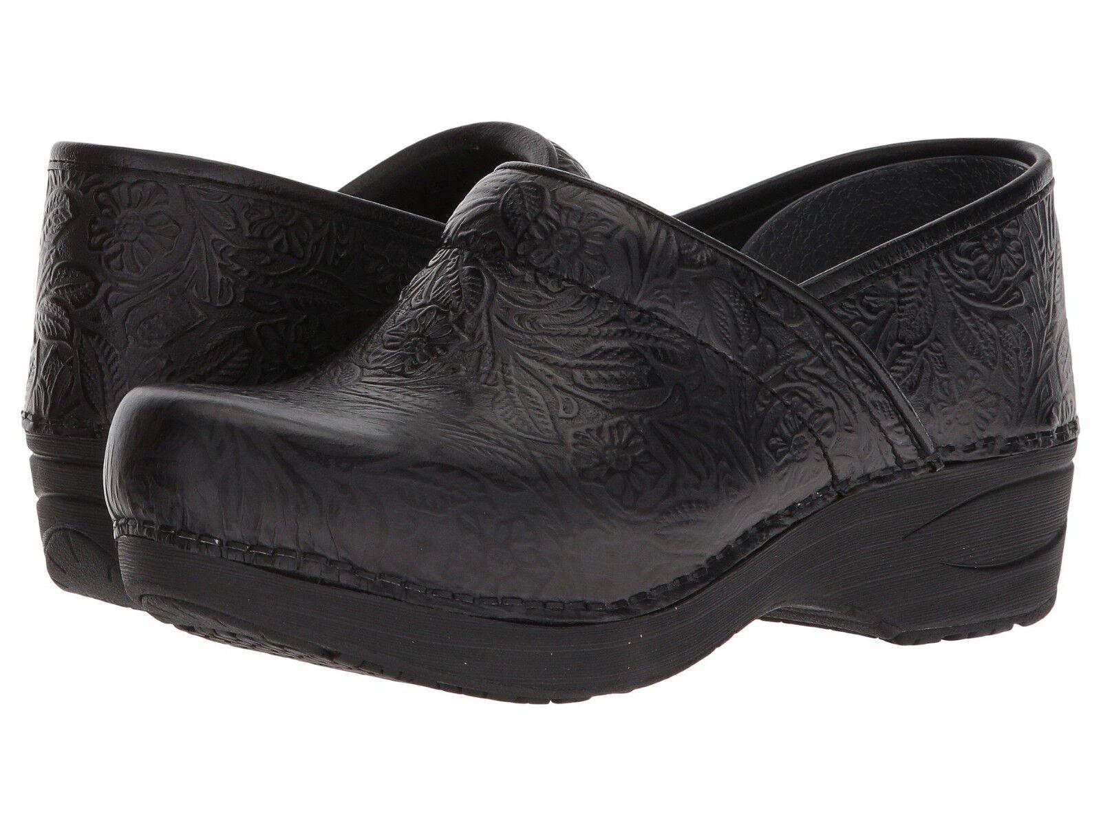 Dansko PRO XP 2.0 schwarz FLORAL TOOLED damen Leather Slip Slip Slip Resistant Clogs schuhe 17b317