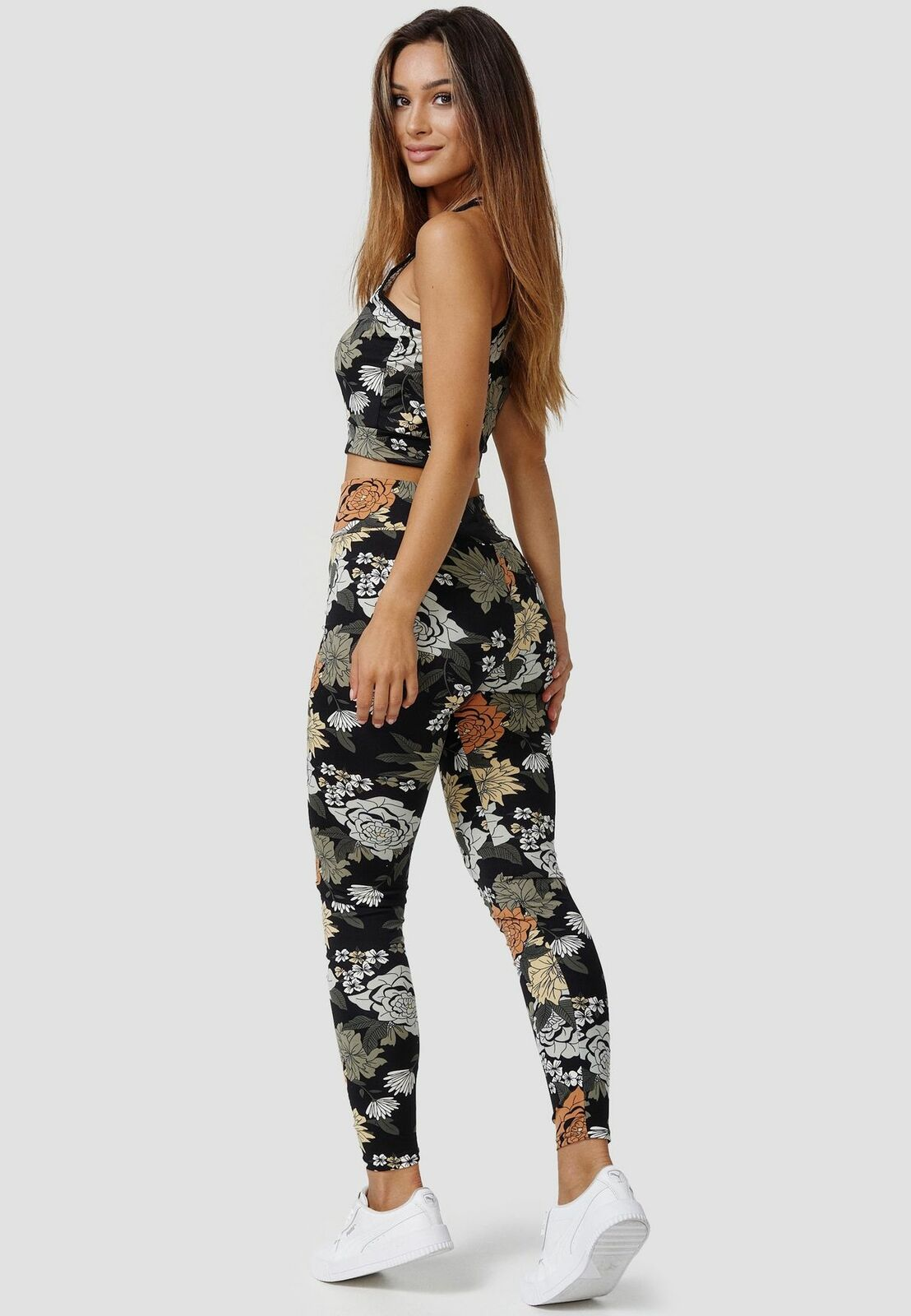 Womens Tracksuit Stretch Racerback Top & Leggings Floral Print Fitness Outfit
