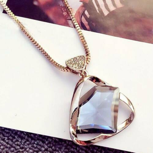 Necklace Geometry Crystal Rhinestone Pendant Necklace Sweater Long Chain Cute