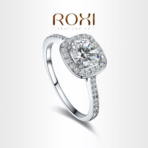 Fashion Square White Sapphire 925 Silver Promise Ring Wedding Jewelry Gift UK