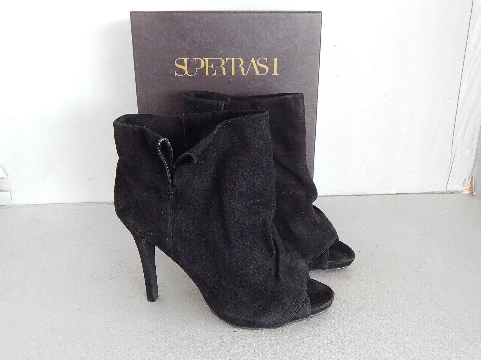 SUPERTRASH Ankle Boots Peeptoe High Heels Plateau Wildleder black  Gr.40 OVP