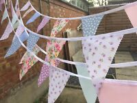 HANDMADE FABRIC BUNTING.MIXED FLORALS.CLEARANCE.WEDDINGS,SHABBY,120FT ONLY £23.