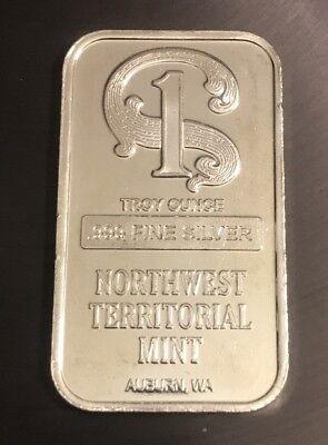 ONE TROY OUNCE SILVER  BAR  .999 NW Territorial Mint  Auburn WA