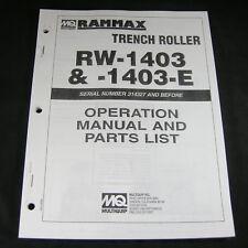 Rammax Rw1403 Rw1403e Vibratory Vibration Trench Roller Operation Parts Manual