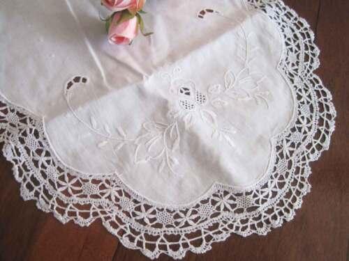 Pretty Wide Hand Bobbin Lace Embroidery Hemstitch White Cotton Table Runner L