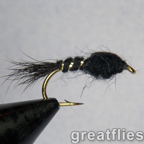 12 BLACK 1 dozen - Gold Ribbed Hare/'s Ear