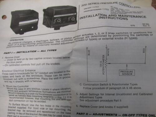"NEW NOS United Electric J302-8021-S137 Pressure Control Range:0-80 /""WC 125//250V"