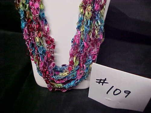 Jolly Rancher #109 Handmade Crocheted Ladder Trellis Ribbon Necklace