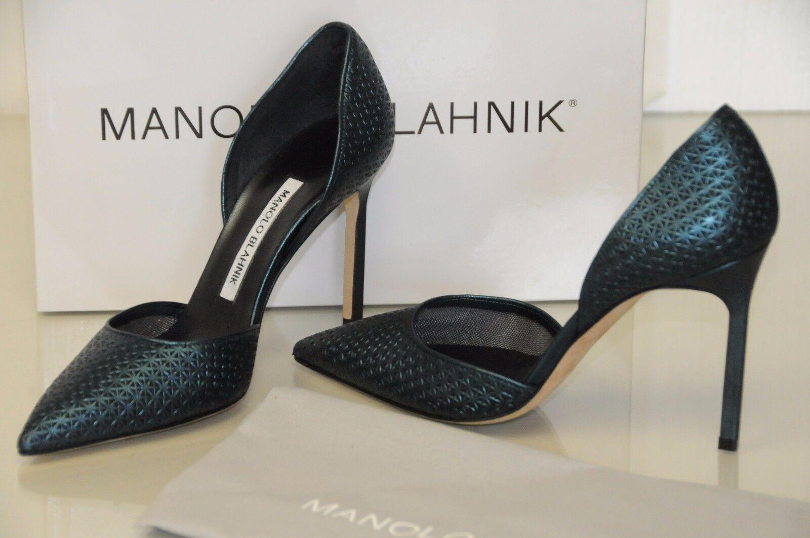 830 New Manolo Blahnik Tayler Tayleradamesh Green Metallic Pump Dorsay shoes 36